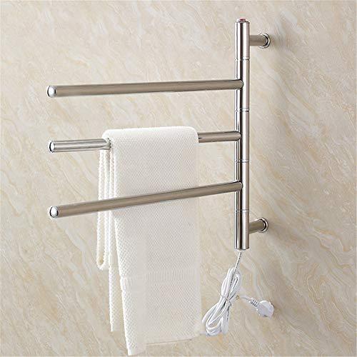 Mijogo Handdoekhouder, deur met 3 draaibare stangen, staal, elektrische verwarming voor wandmontage op roestvrijstalen rails, verwarmingsdroger voor badkamer en keuken