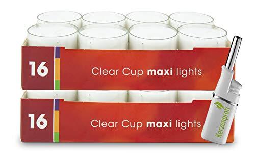 DecoLite Bundle: 32 Maxi-Teelichter (2 Pack) mit 9 Stunden Brenndauer im durchsichtigen Becher & Kerzenprofi Stabfeuerzeug