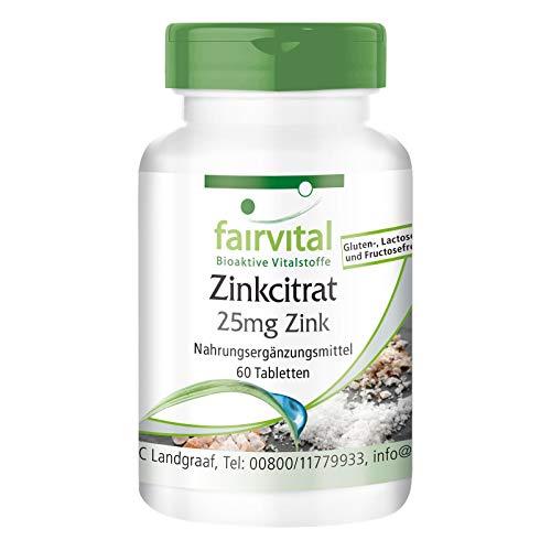 Zink Tabletten - 25mg Zink (elementares Gehalt) pro Tablette - aus Zinkcitrat - HOCHDOSIERT - VEGAN - 60 Tabletten