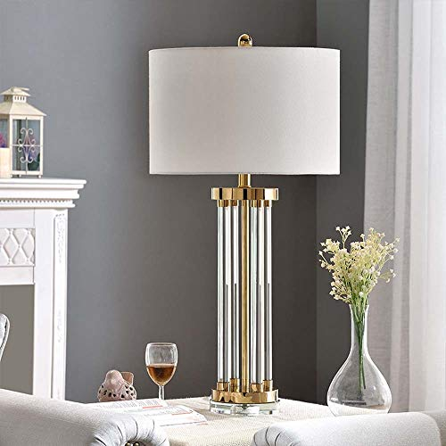 BICCQ table lamps LED Gold Simple Glass Tube Crystal Fabric Bedroom Study Living Room Bedside Table Lamp Lighting Lamps