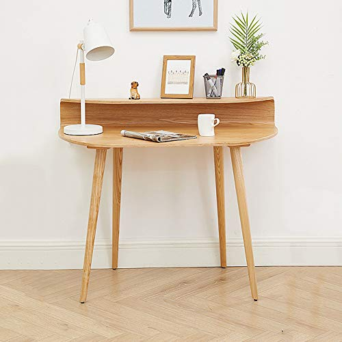 Solid wood laptop desk home office writing desk, Modern creative wooden office furniture console, A small study table that is easy to assemble, Small space game table workbench