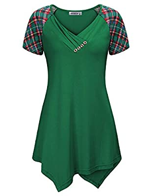 MOQIVGI Womens Short Sleeve V Neck Button Trim Asymmetrical Hem Tunic Tops