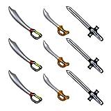 Yojoloin 9PCS Espada Pirata Inflable Globos de Palo para Suministros de Para las fuentes de la fiesta Tema de Halloween Favores de fiesta Decoraciones Disfraz Disfraz Photo Booth Accesorios Accesorios