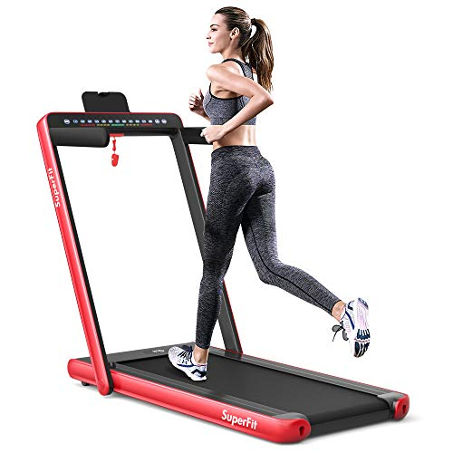 Goplus 2 in 1 Folding Treadmill, 2.25HP Under Desk Electric Pad Treadmill, Installation-Free, with Dual Display, Bluetooth Speaker, Remote Control, Walking Jogging Machine for Home/Office Use (Red)