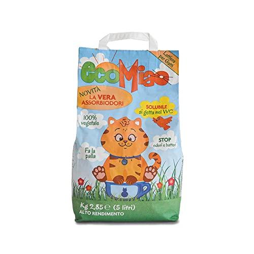 ECOMIAO Lettiera Gatti biodegradabile agglomerante | Sabbia per Gatti 100% vegetale | Antiodore elimina Completamente Il Cattivo Odore | Solubile Si Getta nel WC | Multipack (Classica, 25L, 5 X 5L)
