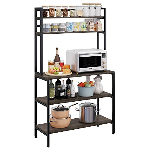 HOMECHO Kitchen Bakers Rack with Hutch, 5-Tier Microwave Oven Stand, Industrial Tall Storage Shelf, Utility Storage Rack for Home Office, Easy Assembly, Dark Brown