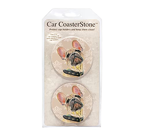 CoasterStone CR383 French Bulldog Car Coaster 2 Pack, Standard Size, Stone