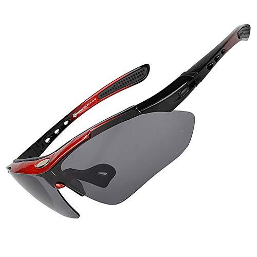 ZJY Movimiento polarizado Desmontable Gafas de Ciclismo Gafas de Sol Guía de Viento Curvado con Tira de Sudor Marco de miopía 5 Lentes Anti-UV Viento Polvo de Arena al Aire Libre