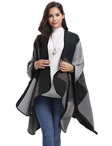 Abollria Poncho Donna Elegante Mantelle Fatti a Maglia Lunga Sciarpa Scialle Cappotto Geometrici Cape Cardigan Vintage per Primavera Autunno Inverno,