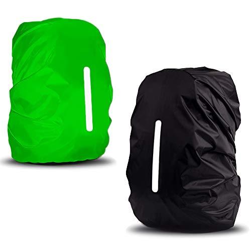 sinzau Regenschutz für Rucksack, 35 L, mit Reflexstreifen und Verstellschnalle, 2 Stücke,Schwarz und Grün