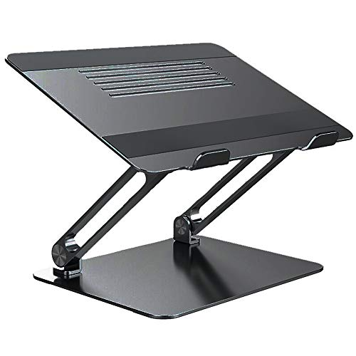 Foldable Laptop Stand, Adjustable Laptop Riser with Slide-Resistant Silicone and Protective Hooks, Aluminum Notebook Stand for Laptops Up to 17 Inches (Color : B)
