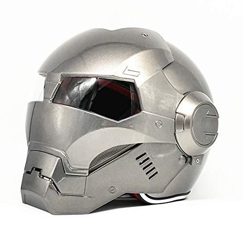 Carretera Hombre Iron Man Marvel Avengers Casco Profesional de Edad, Auriculares SUV Motocross De Cara Completa Moto Tapa Abierta Máscara, Transformers Plata (2XL)