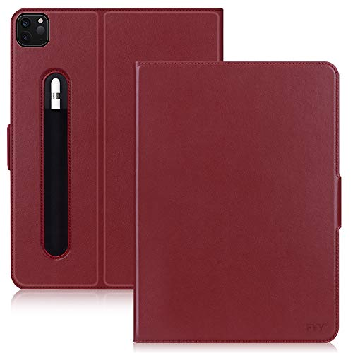 FYY Case for New iPad Pro 12.9 Inch 4th Generation 2020 with Pencil Holder, Luxury Cowhide Genuine Leather Case with [Support Apple Pencil Charging] [Auto Sleep-Wake] for iPad Pro 12.9 2020 Wine Red