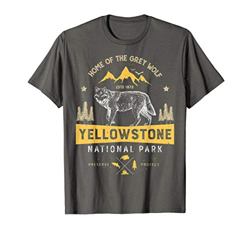 Yellowstone National Park T Shirt uns Wolf Vintage Herren Frauen