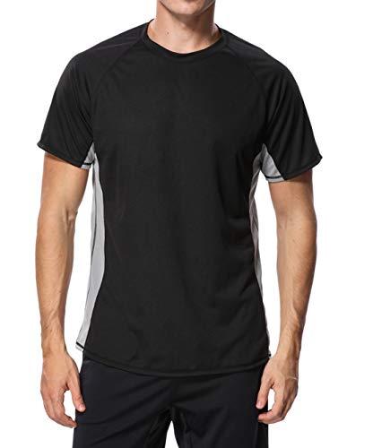eulo Herren Schwimmshirt, kurzärmelig, Rashguard, lockere Passform, Wassershirt, Bademode, Herren, schwarz, Medium