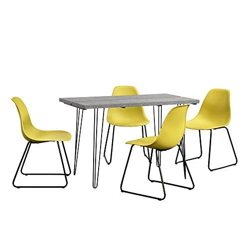 Eethoek - eettafel - hairpin poten - betonlook + 4 stoel - geel