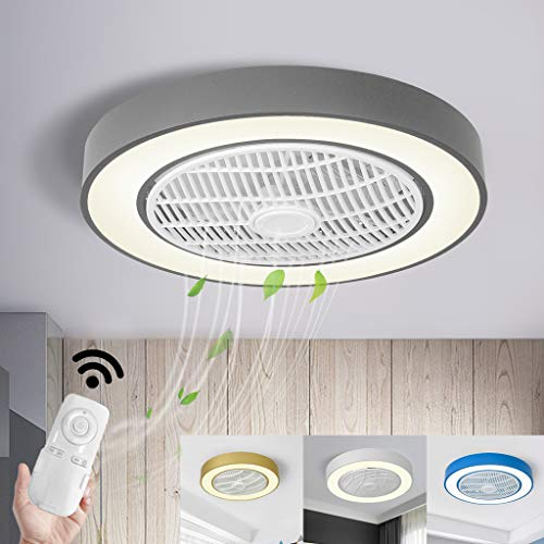 SLZ Deckenventilatoren Mit Beleuchtung 40W Invisible Fan LED-Deckenleuchte Fernbedienung Dimmbar Ultra-Leise Temperatur Einstellbar Fan Kronleuchter Modernes Wohnzimmer Schlafzimmer Fan Lampe,Grau