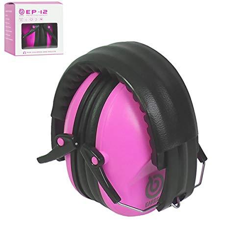 EAREST geluidsbescherming hoofdtelefoon SNR 25dB opvouwbaar verstelbare ruisonderdrukking veiligheid oorbeschermers oorbeschermers oorbeschermers met draagtas gehoorbescherming jacht schieten bescherming voor baby kinderen roze