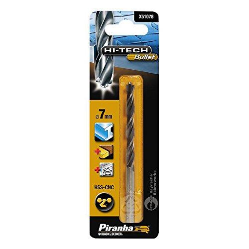 Piranha HSS-CNC Hi-Tech Bullet Metallbohrer (auch für Holz/PVC, 7 mm Bohrdurchmesser, 109 mm Gesamtlänge) 1 Stück, X51078