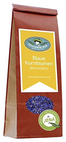 PEPPERMINTMAN Blaue Kornblume – Ganze Kornblumenblüten perfekt für Tee – Ihr Tee färbt sich durch die Bitter- und Gerbstoffe intensiv blau – 60g Papiertüte