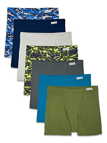 Fruit of the Loom Boys' Big Boxer Briefs (Assorted Colors), Traditional Fly - 7 Pack - Covered Waistband, Medium