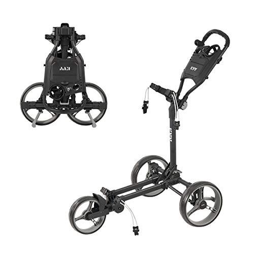 KVV 3 Wheel Compact Flat Folding Design Golf Push Cart with Lightweight and...