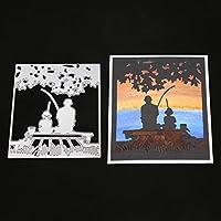 KaMan-Co 釣り金属カッティングダイステンシル、DIYスクラップブッキングアルバムスタンプペーパーカードエンボスクラフト装飾、エンボス炭素鋼モールド、DIYスクラップブック、ノートブック、アルバム、ペーパーカードクラフト、ギフト装飾用