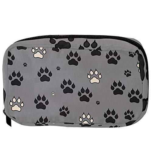 TIZORAX Cosmetic Bags Animal Paw Prints Handy Toiletry Travel Bag Organizer Makeup Pouch for Women Girls