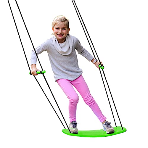 """Swurfer Kick Stand Up Surfing Tree Swing Outdoor Swings for Kids Up to 150 Lbs - Hang from Up to 10 Feet High - Includes 24"""" SwingBoard, UV Resistant Rope, & Handles, Green"""
