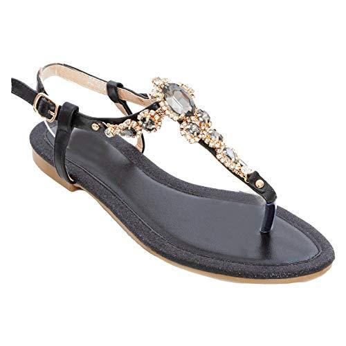 Toocool – Zapatos de Mujer Joya Sandalias Planas Brillantes Elegantes Cerimonia XX1A507 Negro Size: 38 EU