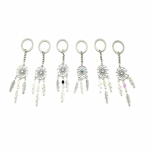 HUELE 6 Styles Ancient Silver Dreamcatcher Dream Catcher Key Ring Key Chain Charm for Bag Hanging Ornament