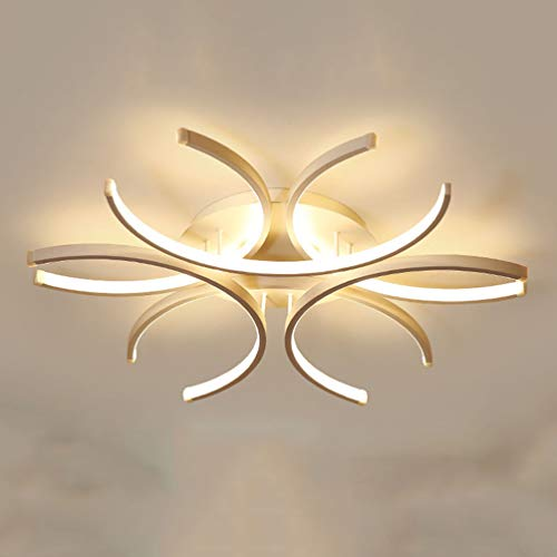 Weiß Deckenleuchte Design LED Modern Rund Deckenlampe Dimmbar mit Fernbedienung Pendelleuchte Aluminium Schlafzimmer Leuchte Acryl-schirm hohe Helligkeit Wohnzimmer Esszimmer Küche lampe Weiss 72W)