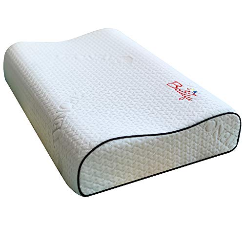 Heinerrs Latex Foam Pillow,Bed Pillow for Sleeping, Ergonomic Cervical Pillow for Neck Pain - for Side Sleepers, Back and Stomach Sleepers, Free Pillowcase Included (Firm & Standard Size)