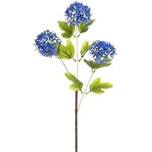 24.5″ Silk Snowball Flower Spray -Blue/Helio (Pack of 12)