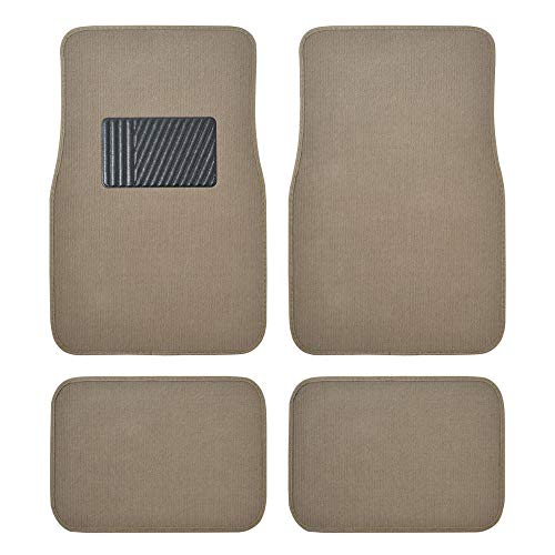 Beige Heavy Duty Front & Rear Carpet Floor Mats Universal Liners for Car SUV Van...