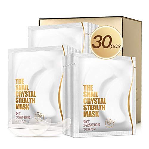 30 Paar Augen Maske Schneckenschleim Extrakt Augenklappe für geschwollene Augen, Augenringe Augen Taschen Feuchtigkeitscreme Anti-Falten Voller Kollagen Hyaluronsäure