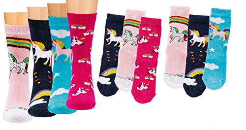 TippTexx 24 Kinder Socken, handgekettelt, 6 Paar für Mädchen/Jungen, weiche Baumwolle, bunter Mix Gr. 19-42 (Einhörner - Farben sortiert, 7-8 Jahre)