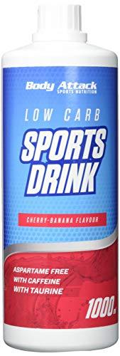 Body Attack Zero Sports Drink, Cherry Banana / Kirsch Banane, 1x 1000 ml / 200 Portionen, Sportgetränkekonzentrat, zucker- und fettarm, vegan, Made in Germany