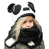 Children Kids Hand Made Woolen Ears Striped Knit Bib Hat Gloves,Warm Animal Hats Hood Scarf Beanies Pandas