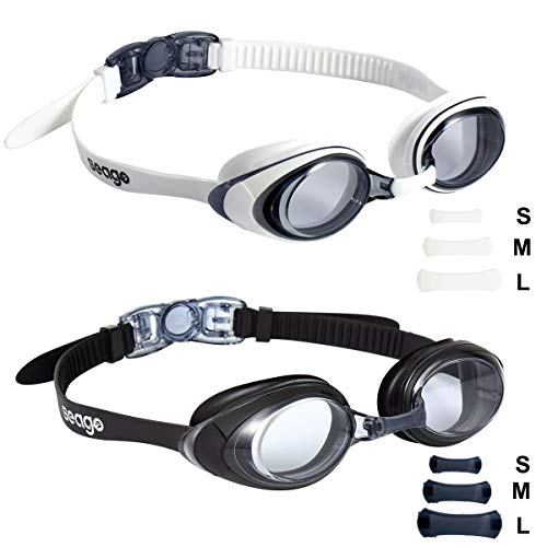 Seago Swim Goggles 2 Pack Updated Swimming Goggles AntiFog with UV Protection for Adult Men Women Youth Junior No Leaking Soft Silicone Frame Scratch Prevention Flexible 3 Size Nose Bridge Flat Lense