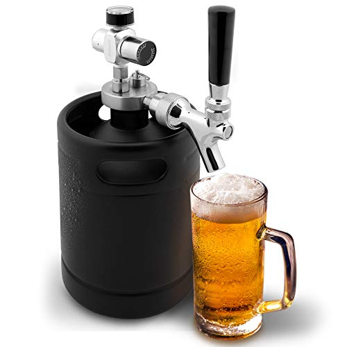 NutriChef Mini Keg Detachable Aluminum Regulator & Tap Spear Easy Storage Black Matte Powder Coated Pressurized Growler Homebrew Beer Dispenser PKBRTP60, 64 Oz