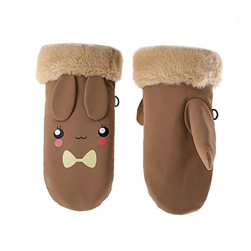 SZMYLED Los niños guantes de esquí gruesos guantes lindos a prueba de viento y impermeables cálidos guantes para niños espesar mantener caliente guantes de invierno color café tamaño libre