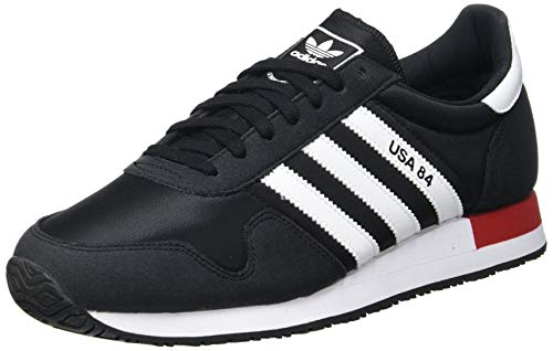 Adidas USA 84, Sneaker Hombre, Core Black/Cloud White/Scarlet, 43 1/3 EU