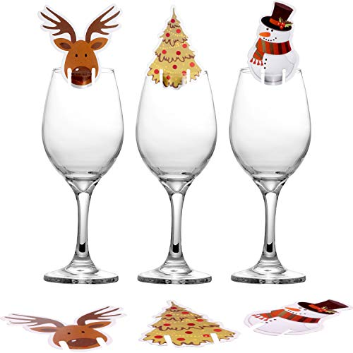 Jovitec 30 Pieces Christmas Wine Glass Cards Sign Table Cards Cup Decoration Card for Christmas Party Supplies, 3 Styles