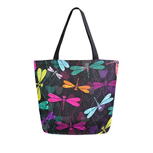 senya Tragbare Handtaschen aus Segeltuch mit Libellen-Schmetterling, wiederverwendbare Einkaufstasche für Picknick, Bücher