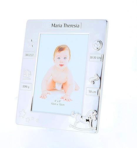 Taufrahmen, Baby-Bilderrahmen, Geschenke zur Taufe, Geburt mit Namen, Datum, Uhrzeit, Gewicht und Größe des Babies personalisiert