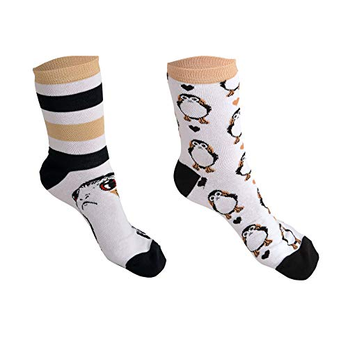 Star Wars Sneaker Socken PORG 2 Paar Elbenwald weiß schwarz beige - 35-38