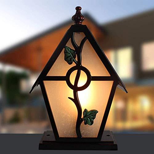 Linterna de Vidrio Lámpara de Pilar Lámpara de Mesa a Prueba de Lluvia Poste de portería Accesorio Impermeable al Aire Libre Capilla al Aire Libre Valla de jardín Poste de Parque Luz de Columna Ilumi