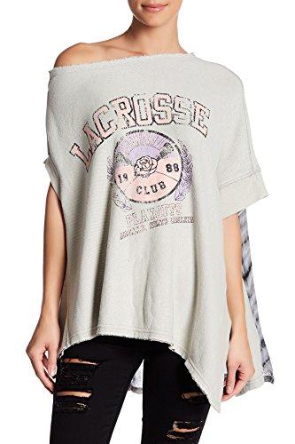 Free People Womens Off Side Graphic Asymmetric Sweatshirt Gray XS