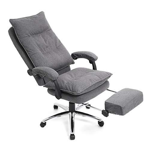 SONGMICS bureaustoel, ergonomische bureaustoel met voetensteun, bureaustoel, verstelbare rugleuning, tot 150 kg belastbaar, linnen, grijs OBG78GY